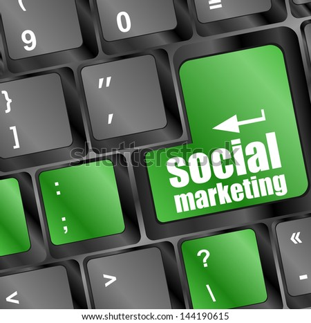 social marketing on computer keyboard key button, raster
