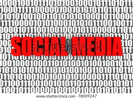 Social media and binary code 3d text. Part of a series. - stock photo