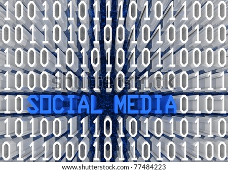 Social media and binary code 3d text sequence in perspective view. Part of a series. - stock photo