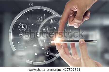 Social media and cloud computing - stock photo