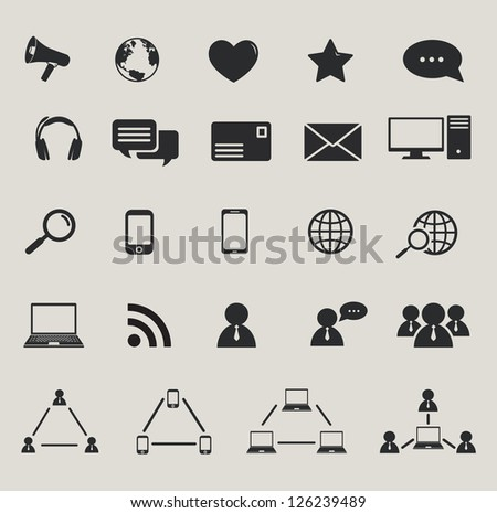 social media and computer communication icons set. raster version, vector file also available in gallery - stock photo