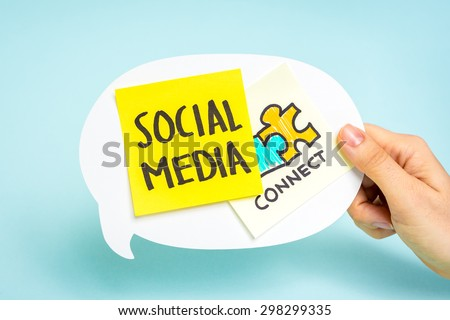 Social media and connect notes on speech bubble, blue background. Internet marketing concept. - stock photo
