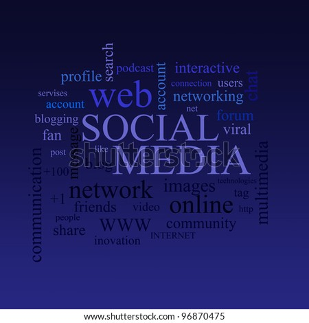 social media and connected words cloud  illustration - stock photo