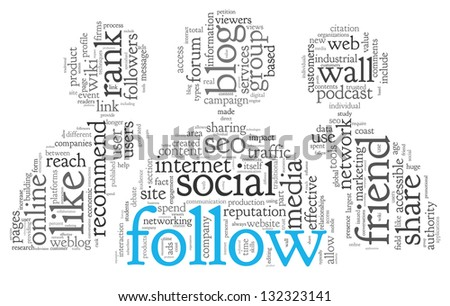 Social media and follow concept in word tag cloud on white background - stock photo