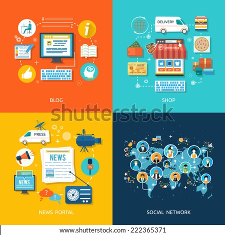 Social media and network connection concept. On line store. Sale, laptop and smart phone with awning. Journalism including news, reporter, camera, accreditation in flat design style. Raster version - stock photo