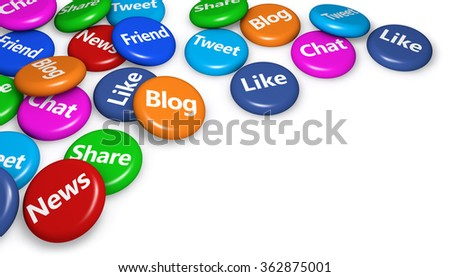 Social media and network sign and word on colorful badges concept for web, blog and online business 3d illustration on white background with copyspace. - stock photo