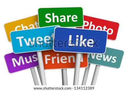 Social media and networking concept: group of color signs with social media services isolated on white background - stock photo