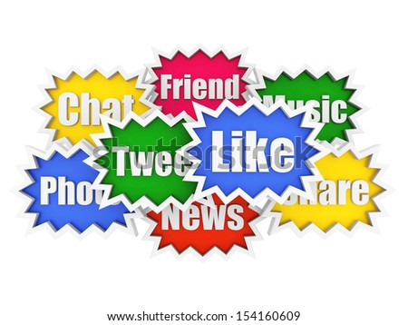 Social media and networking concept on a white background - stock photo
