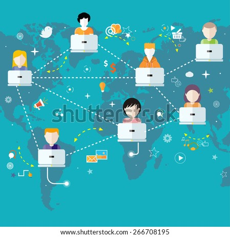 Social media avatar network connection concept. People in a social network. Concept for social network in flat design. Globe with many different peoples faces with laptops. Raster version