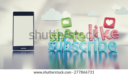 """Social media background with 3D """"share like subscribe"""" catch phrase reflecting on glossy floor, smartphone with empty screen and icons. - stock photo"""