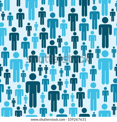 Social media blue people seamless pattern. - stock photo