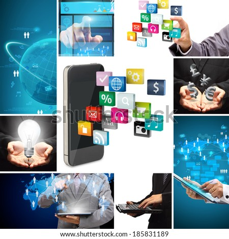 Social media business innovation technology concept design, Creative communication virtual networking information data process diagram modern design layout template - stock photo