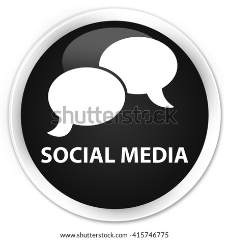 Social media (chat bubble icon) black glossy round button - stock photo