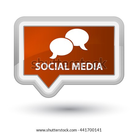 Social media (chat bubble icon) brown banner button - stock photo