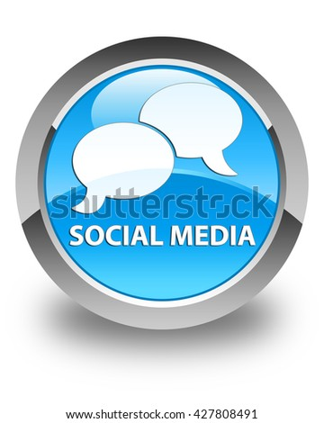Social media (chat bubble icon) glossy cyan blue round button - stock photo