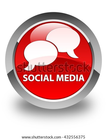 Social media (chat bubble icon) glossy red round button - stock photo