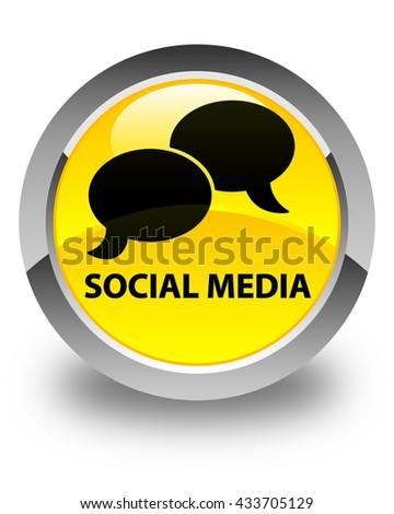 Social media (chat bubble icon) glossy yellow round button - stock photo