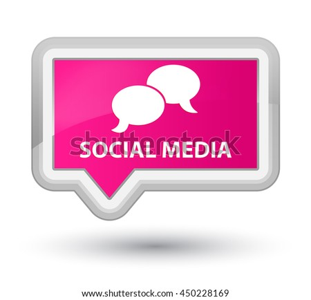 Social media (chat bubble icon) pink banner button - stock photo