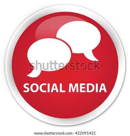Social media (chat bubble icon) red glossy round button - stock photo