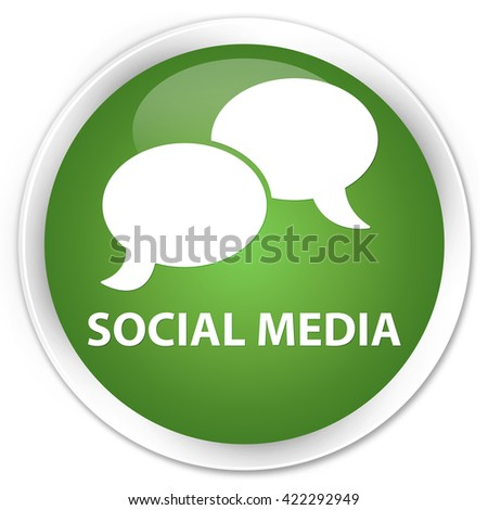Social media (chat bubble icon) soft green glossy round button - stock photo