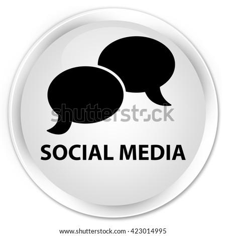 Social media (chat bubble icon) white glossy round button - stock photo