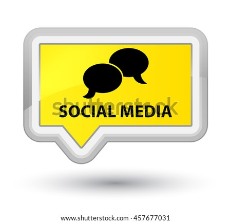 Social media (chat bubble icon) yellow banner button - stock photo