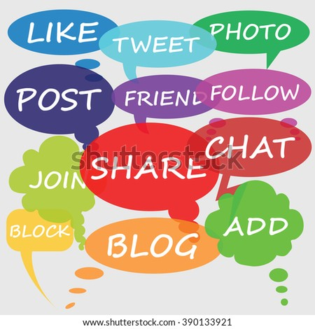Social Media chat bubbles - stock photo