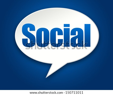 Social Media Chat Conversation Bubble on Blue Background - stock photo