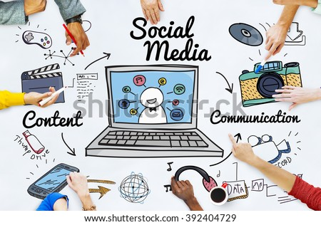 Social Media Chat Share Global Communication Concept - stock photo