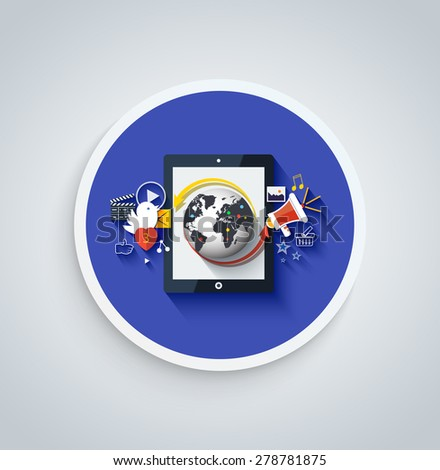 Social media. Cloud of application icons. Set for web and mobile applications of social media. Can be used for web banners, marketing and promotional materials, presentation templates. Raster version  - stock photo