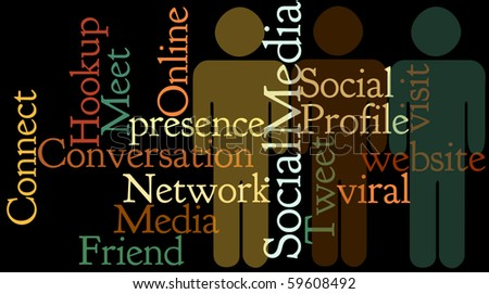 Social Media Collage emphasizes connection. - stock photo