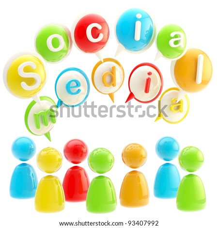 Social media colorful emblem made of text bubbles and symbolic human figures isolated on white - stock photo