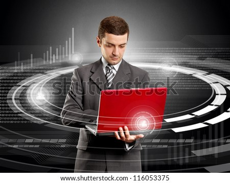 Social media concept, business man with laptop in his hands - stock photo