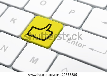 Social media concept: computer keyboard with Thumb Up icon on enter button background, selected focus, 3d render - stock photo