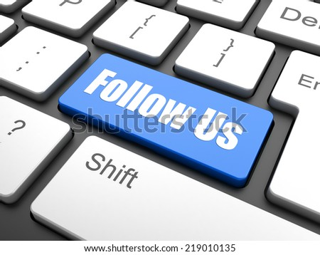 Social media concept: computer keyboard with word Follow us, selected focus on enter button background, 3d render - stock photo