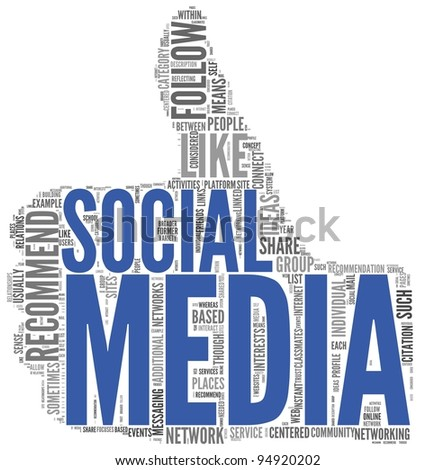 Social media concept in tag cloud of thumb up shape isolated on white background - stock photo
