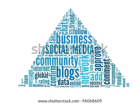 Social Media concept in word collage - stock photo