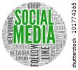 Social media concept in word tag cloud on white background - stock vector