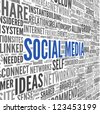 Social media concept in word tag cloud on white background - stock