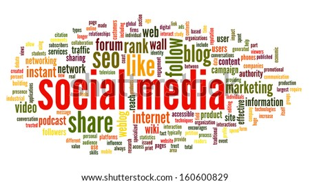 Social media concept in word tag cloud on white background - stock photo