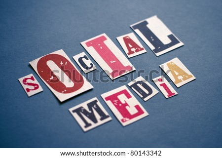 Social Media concept. Little depth of field on title and a slight vignette to add dramatic and focus on image. - stock photo
