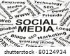 Social Media concept made with many pieces of paper with printed related words. - stock photo