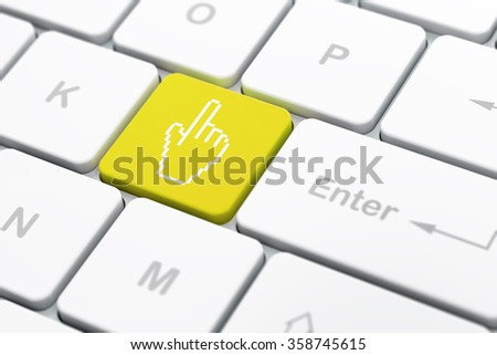 Social media concept: Mouse Cursor on computer keyboard background - stock photo