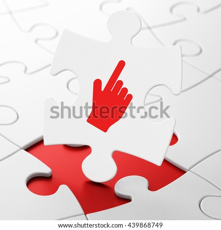 Social media concept: Mouse Cursor on White puzzle pieces background, 3D rendering - stock photo