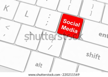 Social media concept on keyboard background