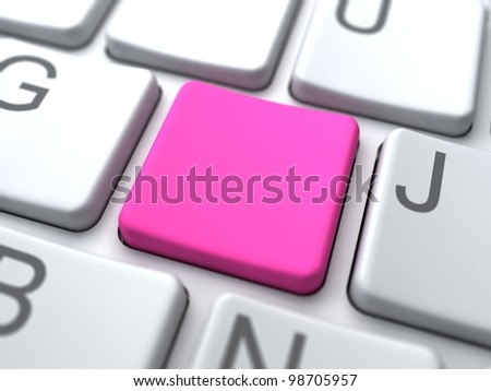 Social Media Concept. Pink Blank Button on Keyboard.