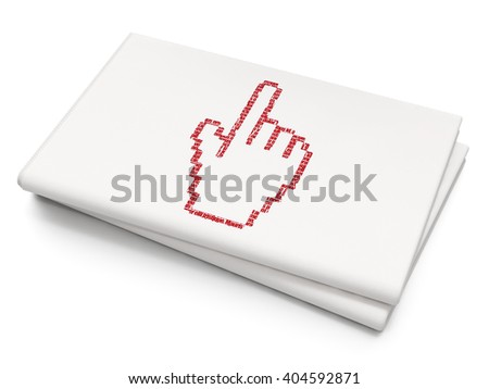 Social media concept: Pixelated red Mouse Cursor icon on Blank Newspaper background, 3D rendering - stock photo