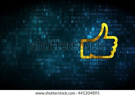 Social media concept: pixelated Thumb Up icon on digital background, empty copyspace for card, text, advertising - stock photo