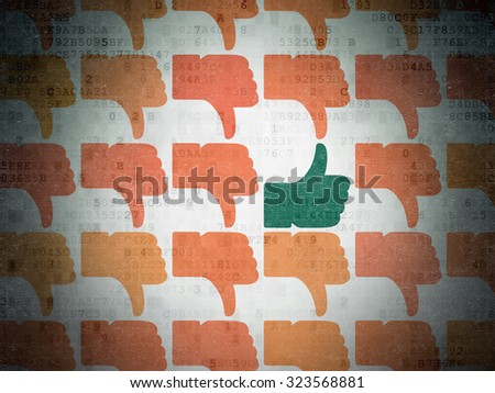 Social media concept: rows of Painted orange thumb down icons around green thumb up icon on Digital Paper background - stock photo