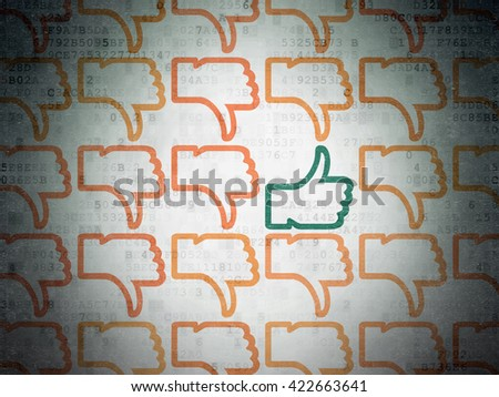 Social media concept: rows of Painted orange thumb down icons around green thumb up icon on Digital Data Paper background - stock photo
